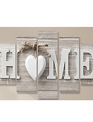 cheap -5 Panel Wall Art Canvas Prints Painting Artwork Picture Heart Wood Grain Home Decoration Décor Rolled Canvas No Frame Unframed Unstretched