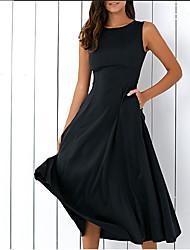 cheap -Women's A Line Dress Midi Dress Black Sleeveless Solid Color Summer Casual 2021 S M L XL XXL XXXL 4XL 5XL