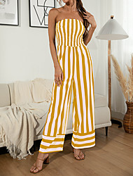 cheap -2021 summer new product amazon wish hot product sexy off-the-shoulder tube top striped wide-leg three-color jumpsuit