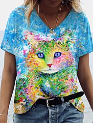 cheap -Women's 3D Cat Painting T shirt Cat 3D Animal Print V Neck Basic Tops Blue