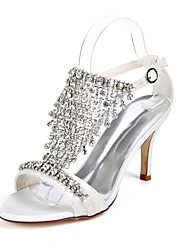 cheap -Women's Wedding Shoes Stiletto Heel Open Toe Wedding Sandals Wedding Lace Rhinestone Buckle Floral Light Purple Ivory White