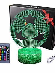 cheap -LED 3D Night Light Euro Cup Football 3D Optical Illusion LED Euro Cup Night Lights 16 Color Change with USB Cable Soccer 3D Light for Kids Unique Lighting Effect Special Visualization Home Decor