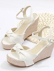 cheap -Women's Sandals Wedge Sandals Platform Sandals Wedge Heel Pointed Toe Wedding Flats Linen Denim Ribbon Tie Solid Colored Almond Black
