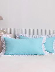 cheap -2 Pack 50*75cm Pillowcases/Pillow Shams Edge Ruffles Plain/Solid White Blue