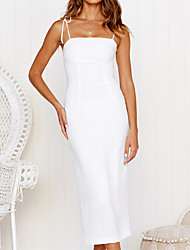 cheap -Women's Strap Dress Knee Length Dress Big white Please download the picture compression package in the Green Sleeveless Solid Color Summer Casual 2021 S M L XL