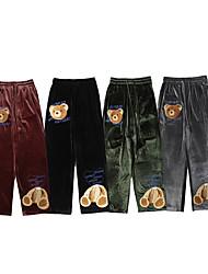 cheap -Men's Chino Soft Chinos Loose Daily Pants Bear Full Length Print Army Green Gray Black Brown / Elasticity