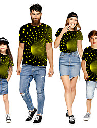 cheap -Family Look Green Active Graphic Optical Illusion Print Short Sleeve Family Sets