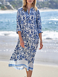 cheap -Women's Cover Up Beach Dress Swimsuit Oversized Blue Swimwear Bathing Suits New / Padless