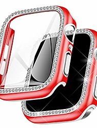 cheap -falandi rhinestones silver edge red case hd with tempered glass screen protector for apple watch case 40mm series 6/ se/ 5/ 4, rugged overall protective hard cover for iwatch (red,40mm)