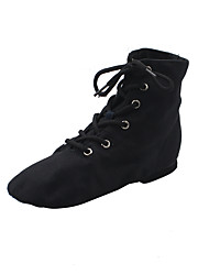 cheap -Girls' Jazz Shoes Ballroom Shoes Dance Boots Boots Flat Heel Round Toe Red White Black Lace-up Children's / Performance / Practice