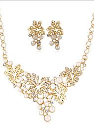 cheap -jewelry set alloy leaf diamond-studded pearl necklace fashion elegant set