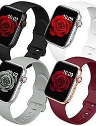 cheap -4 pack bands compatible with apple watch band 38mm 40mm 42mm 44mm for women men, soft silicone sport replacement watch strap for iwatch series se/ 6/5/4/3/2/1 black/white/wine red/gray