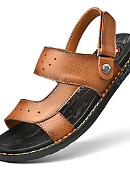 cheap -Men's Sandals Crochet Leather Shoes Flat Sandals Sporty Casual Roman Shoes Daily Outdoor Nappa Leather Cowhide Breathable Handmade Non-slipping Booties / Ankle Boots Khaki Black Brown Fall Summer