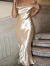 cheap -Sheath / Column Elegant Sexy Holiday Wedding Guest Dress V Neck Spaghetti Strap Sleeveless Tea Length Spandex with Sleek Strappy 2021