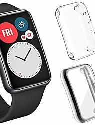 cheap -Smart watch Case 2-pack screen protector cases compatible with huawei watch fit, soft tpu plated all-around protector case protective bumper frame huawei watch fit  (clear+silver)