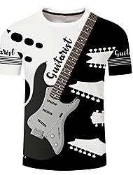 cheap -Men's Unisex Tee T shirt Shirt 3D Print Graphic Prints Guitar Plus Size 3D Print Short Sleeve Casual Tops Basic Designer Big and Tall A B C