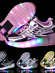 cheap -Boys' Trainers Athletic Shoes LED Shoes USB Charging PU Roller Shoes Big Kids(7years +) Daily Black Pink Gold Fall
