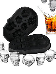 cheap -6 Cavities Ice Cube Maker DIY Creative Silica Gel Skull Shape Tray Mold Home Bar Party Cool Whiskey Wine Ice Cream Bar Tool