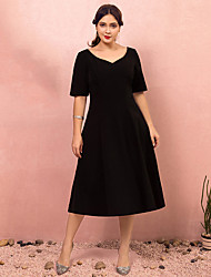cheap -A-Line Plus Size Vintage Party Wear Cocktail Party Dress Sweetheart Neckline Short Sleeve Tea Length Stretch Fabric with Sleek 2021