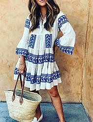 cheap -Women's A Line Dress Knee Length Dress 3/4 Length Sleeve Geometric Smocked Ruffle Patchwork Spring Summer V Neck Casual Holiday Flare Cuff Sleeve 2021 S M L XL XXL XXXL