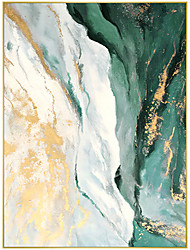 cheap -Oil Painting Handmade Hand Painted Wall Art Contemporary Minimalist Green and Golden Abstract Home Decoration Decor Rolled Canvas No Frame Unstretched