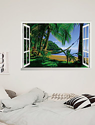 cheap -3D False Window Coconut Tree Swing Home Children's Room Background Decoration Can Be Removed Stickers