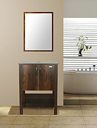 cheap -MDF Mid-Century Bathroom Vanity Combo Freestanding Bath Cabinet Modern Single Sink with Cultured Marble Countertop Mirror Included Brown Furniture