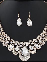 cheap -jewelry set fashion metal flash diamond water drop gemstone necklace earring set