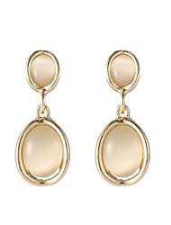 cheap -sujayu created opal dangle earrings, crystal white round shape gemstone stainless steel earrings(gold)