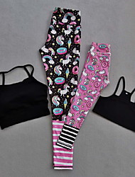 cheap -Mommy and Me Black Rainbow Unicorn Print YOGA Sets(Included Tank Top and YOGA Pants)