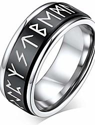 cheap -faithheart fidger spinner ring, black steel punk rotatable chain ring nordic viking runes spinning ring set for men size 8, fashion link rings for boys