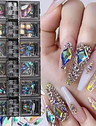 cheap -12 Grids/Box AB Nail Art Diamond Gem 3D Nail Sequin Crystal Rhinestone Glass Nail Art Decoration