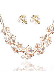 cheap -pearl  jewelry set fashion metal shinning diamond pearl branches and leaves suit necklace earrings
