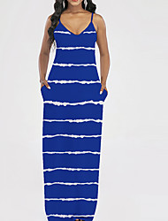 cheap -Women's Strap Dress Maxi long Dress Blue Purple Red Sleeveless Striped Pocket Summer V Neck Sexy Holiday 2021 S M L XL XXL