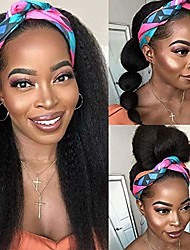 cheap -Headband Wig for Black Women 24 Inch Kinky Straight Black Wigs Headbands for Women Glueless None Lace Front Machine Made Wigs with Headband