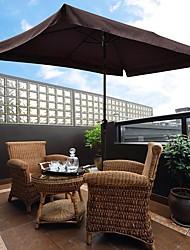 cheap -Outdoor Aluminum Patio Umbrella Dark Coffee Durable Portable Living RoomFurniture