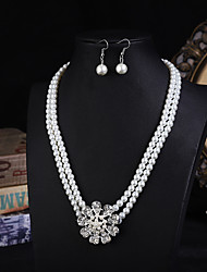 cheap -pearl jewelry set bridal accessories set of fashion luxury diamond-studded pearl set  pearl necklace