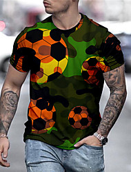 cheap -Men's Unisex Tee T shirt Shirt 3D Print Graphic Prints Football Soccer Football player Print Short Sleeve Daily Tops Casual Designer Big and Tall Green / Summer
