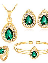 cheap -female jewelry set water drop gemstone series style necklace earrings ring bracelet four-piece set
