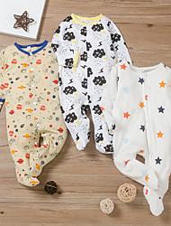 cheap -Baby Boys' Romper Basic Cotton Yellow White Black Print Long Sleeve / Summer