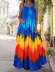 cheap -cross-border summer 2021 new style tie-dye 3d printed dress bohemian strapless strapless mopping dress