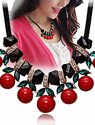 cheap -pearl necklace cherry simple diamond-studded clavicle chain female short necklace women's accessories