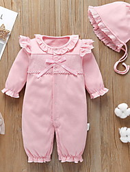 cheap -2 Pieces Baby Girls' Active Solid Colored Lace Print Long Sleeve Romper Blushing Pink