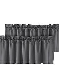 cheap -Tier Curtains Short Window Treatments Rod Pocket White Grey Black For Kitchen Living Room