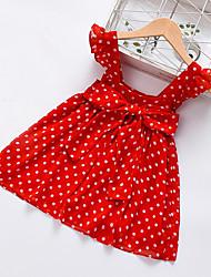 cheap -Baby Girls' Active Polka Dot Print Other Prints Sleeveless Knee-length Dress Red