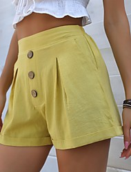 cheap -Women's Lined Shorts Adjustable Waist Pants Solid Color Daily Wear