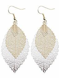 cheap -harlorki women lady alloy metal tree leaf shape hollow out hook earrings fashion jewelry (gold+silver)