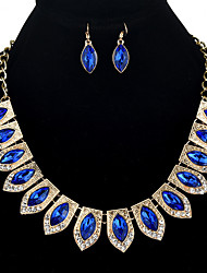 cheap -jewelry set full of diamond necklace, solid color diamond necklace, colorful horse eye gemstones, earrings set