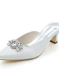 cheap -Women's Wedding Shoes Block Heel Square Toe Satin Rhinestone Solid Colored White Purple Red