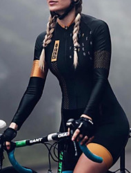 cheap -21Grams Women's Men's Long Sleeve Triathlon Tri Suit Summer Polyester Black Patchwork Bike Quick Dry Breathable Sweat wicking Sports Patchwork Mountain Bike MTB Road Bike Cycling Clothing Apparel